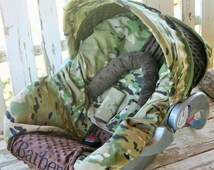 multi cam camo w/ brown minky car seat cover and hood cover w/ headsupport straps and embroidery