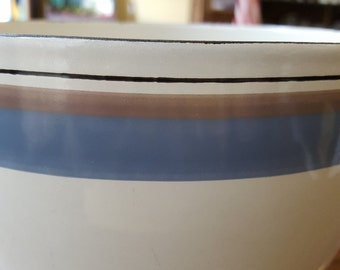 Arabia FINEL Vintage Enamelware Bowl - black, taupe and blue stripe