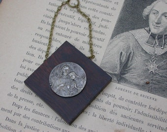 French antique  reliquary  solid bronze gothic 1st reliquary medal miniature silver religious reliquary  angel church