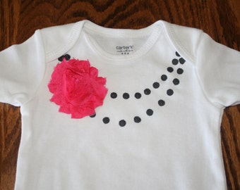 Baby Girl Bodysuits with Necklace and a pin on Flower, Girly and Cute, Newborn to 18 Months