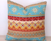 Turquoise Orange Red Ethnic Cushion Cover -  Decorative Scatter Cushion Cove E6162 17x17 17 x 17