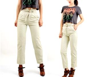 80s Leather Pants / White Leather Pants / High Waist Pants / Cigarette Pants Size XS / S
