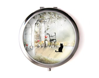 Cat pocket mirror & Organza pouch