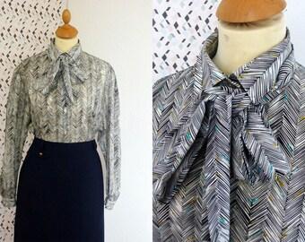 80s CAREER blouse herringbone pattern bow M L
