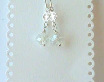 Christian Cross Earrings With Swarovski Crystals And Sterling Silver