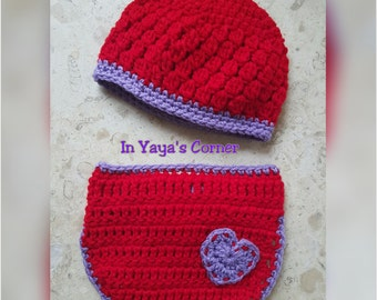 Crochet Baby Valentine's Day Set - Hat & Diaper Cover Combo - Baby (0-3 months)