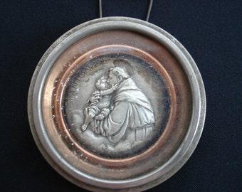 Religious antique French catholic metal peinture of Saint Anthony behind glass. ( 2 )