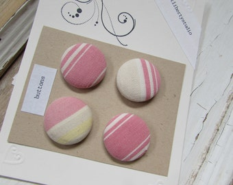 4 Pink Vintage French Ticking Fabric Covered Buttons Set - Ready to Ship