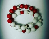 """Arm Candy. """"Fortitude"""" Red and White Delta Sigma Theta  inspired stretch bracelet."""