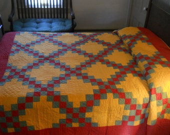 Stunning!  1800s, Pennsylvania, Triple Irish Chain Quilt.  Turkey Red, Green, Cheddar