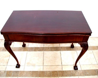 Vintage Red Mahogany Chippendale Expandable Dining Card Console Table 2 leafs