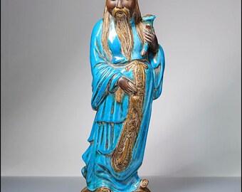 Zaccagnini Mid-Century Modern Italian Art Pottery Blue & Gold Chinaman Statue