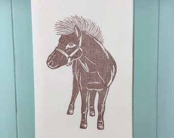 Block Printed Newfoundland Pony