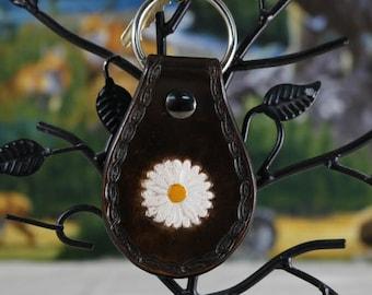 leather daisy flower key chain key fob