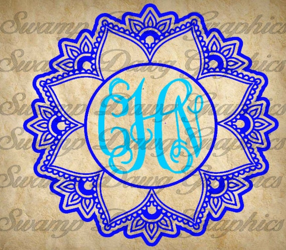 Mandala Monogram SVG monogram svg silhouette cricut