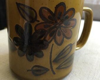 Vintage Olive Green Flower Mug