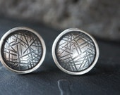Contemporary Sterling Studs , Textured Disc Earrings , Everyday Earrings , Modern Industrial Jewelry