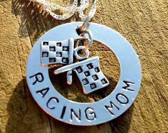 Hand Stamped Personalized RACING MOM necklace custom jewelry Sports jewelry