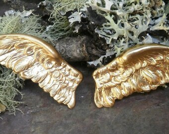 Raw Brass Stamping Graceful Angel Wings Bird Pair