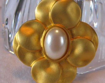 1980's Satin Finish Gold with Pearl MAXINE DENKER Signed Brooch, Frosty
