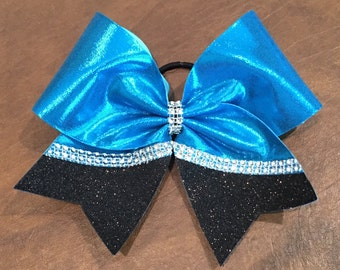 Cheer Bow--Turquoise and black with Diamond Mesh SALE!!!!