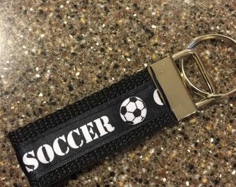 Black and White Soccer Keychain - Black Keychain Mini Key Fob - Small Keychain Team Gifts - Soccer Key Chain
