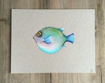Puffer Fish, original drawing