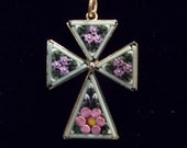 ST. PATTY'S SALE: Gorgeous Vintage Micro Mosaic Italian Cross Pendant Handmade Hallmarked Italy ~ Estate Jewelry
