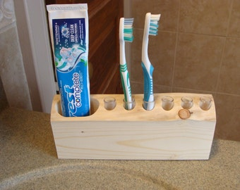 Rustic Spruce Toothbrush Holder--Counter Top, Family Sized. Holds 6 Toothbrushes and Toothpaste