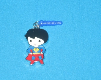 Superman Cell Phone Dust Plug Charm Attached
