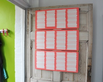 SALE 2017 large sturdy wall calendar screen printed in Fluro orange