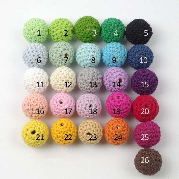 Crochet Beads Wholesale Bulk Mixing Ball 50pc/lot 20mm Round Lot of Colors, Wooden Covered Ball Knitting Set for You, Sister, Mother Gift