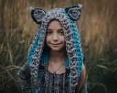 Customized Cat Kitty Unicorn Crochet Knit Handmade Soft Comfy Beanie Hood Hoodie Festival Rave Kid Wear Blue Grey Clothing Costume Halloween