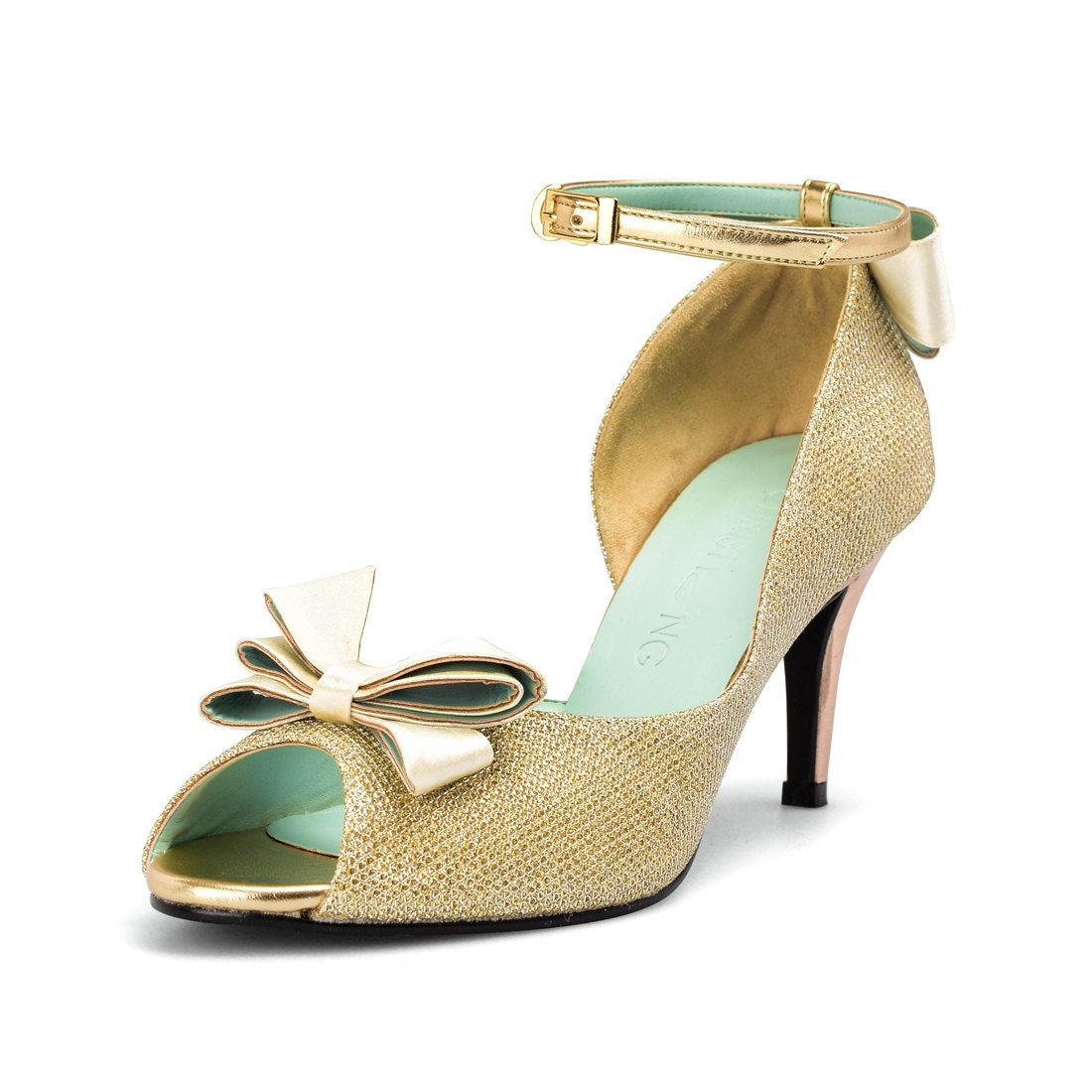 gold shoes wedding gold custom made lower heels gold heels with straps gold 4539