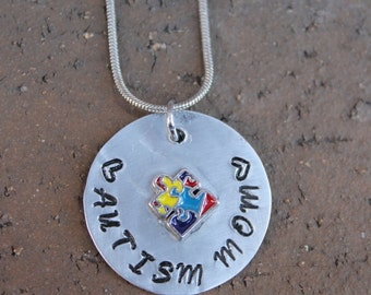 Autism Mom Necklace Sterling Silver Custom Hand Stamped