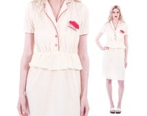 70s Vintage Terrycloth Dress Ivory and Red Fitted Peplum Midi Secretary Pencil Shirtdress Preppy Retro Clothing Womens Size XS Smal