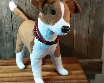Custom plush created for a customer from photos of their special buddy. Made with minky faux fur for body and color patterns.  Prices vary.