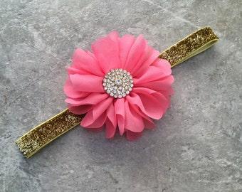 Coral gold headband, newborn headband, baby headband, baby girl headband, flower headband, shabby flower, coral Flower, gold headband