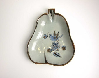 El Palomar Tonala Mexico Pottery Pear Shaped Shallow Bowl Serving Dish - Collectible Mexican Art
