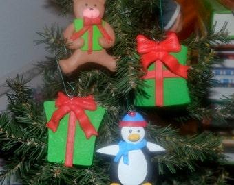 SALE - Vintage Handmade Polymer Clay Christmas Ornaments