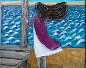 Original palette knife Painting, children's wall art, Windy Beach, Flordia, impasto wall art, textured wall art