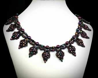 Woven Necklace / Purple Necklace / Renaissance Necklace / Renaissance Jewelry / Tudor Jewelry / Pearl Necklace / Medieval Jewelry / Amethyst