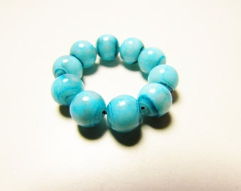 D-00922 - 10 Glass beads 8mm Turquoise-Blue