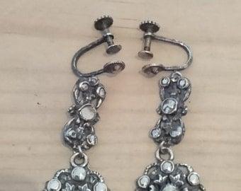 Vintage marcasite screw back earrings