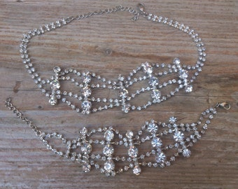 Sparkly rhinestone necklace and bracelet set