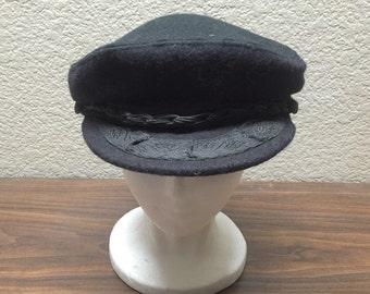 Golden Gate Hat Co Greek Fisherman's Cap, Vintage Greek Newsboy Fisherman's Hat, Wool Fisherman's Cap