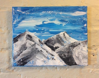 These Northern Faces- Original acrylic painting snow covered mountains