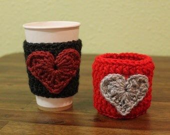 Two Coffee Cozies Crocheted with Heart