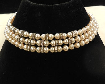 Vintage Japan Three Strand Faux Pearl and Rhinestone Rondelle Choker