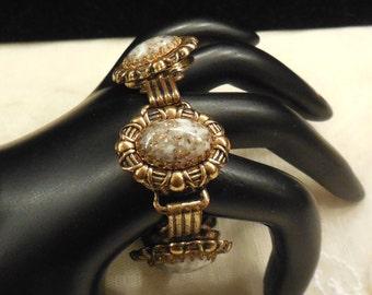 Vintage White Swirl Gold Speck Art Glass Cabochon Bracelet